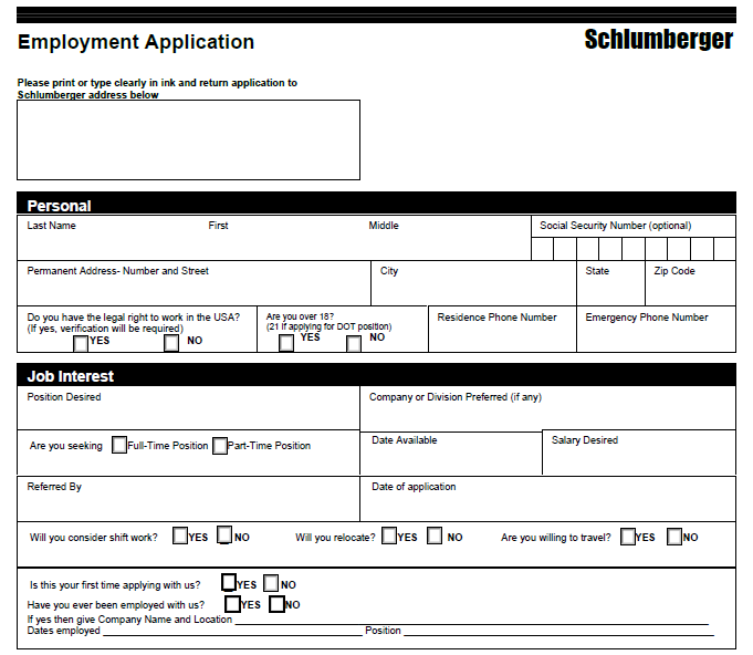 Schlumberger Job Application Form