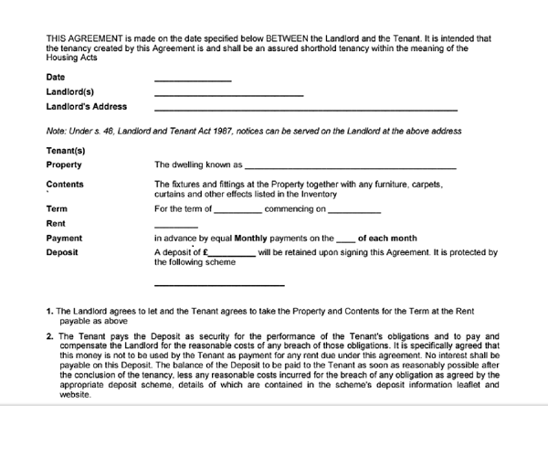 Is it possible to get tenancy agreement form free download for Letting agreement template free