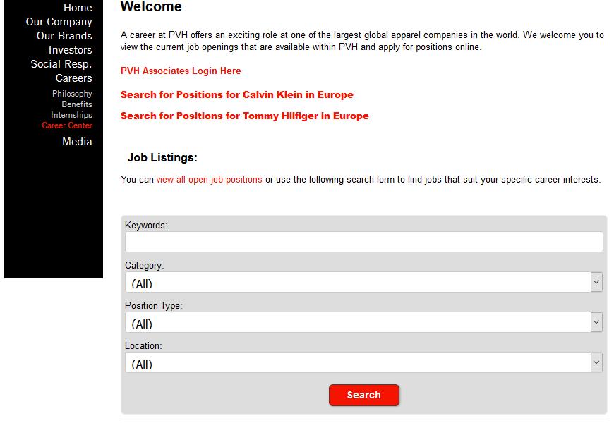 Van Heusen Job Application Form