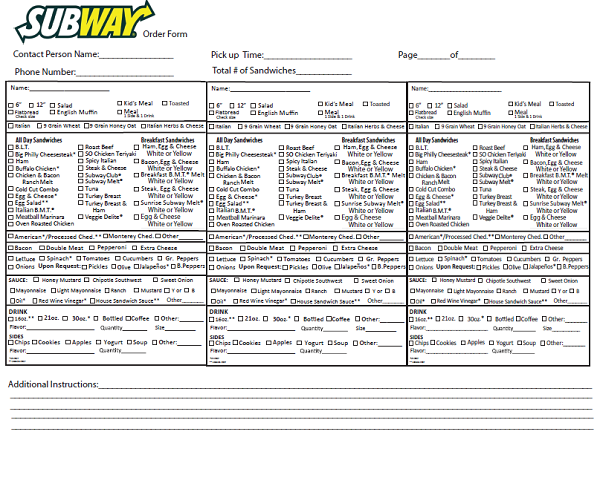 image relating to Subway Menu Printable referred to as Subway Get Variety Fax - Absolutely free Undertaking Program Sort