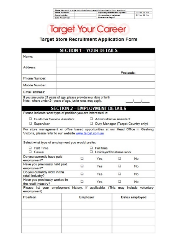 Target Job Application Form - Free Job Application Form