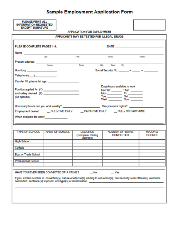 Job Application Form Download Free Job Application Form
