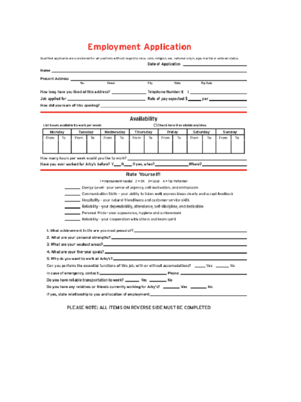 arby's job application form
