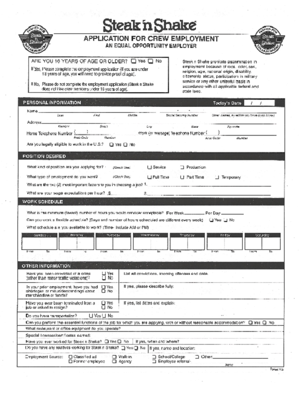 steak and shake job application form