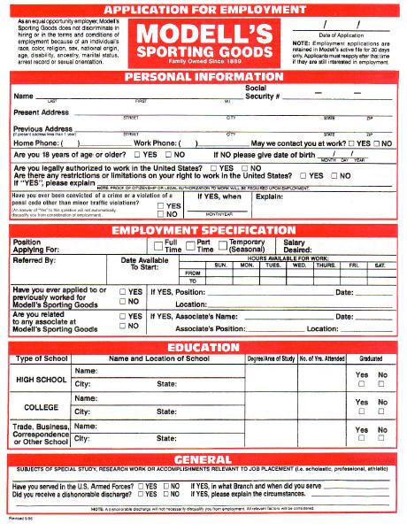 Modells Job Application Form