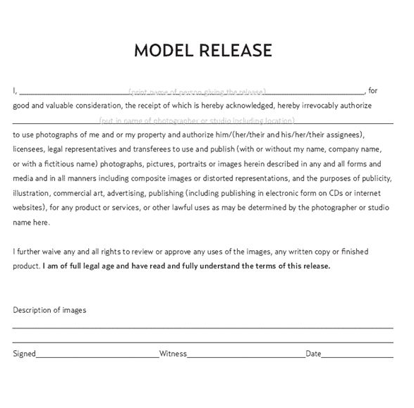 Model release contract form