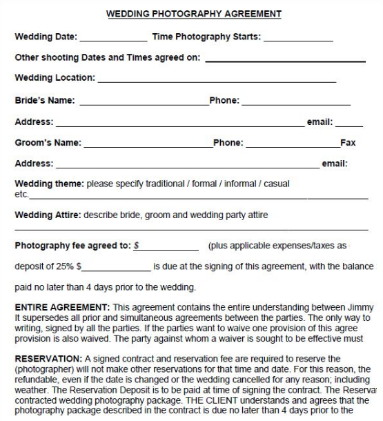 Portrait photography agreement