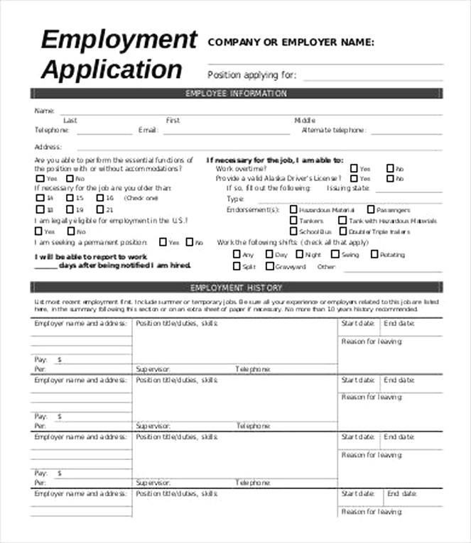best questions to include in an employment application form free