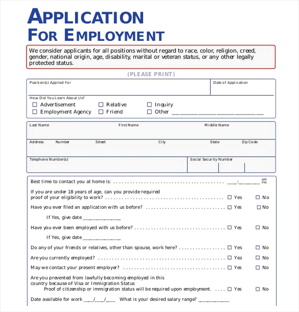 The Importance Of Employment Application Pdf Free Job